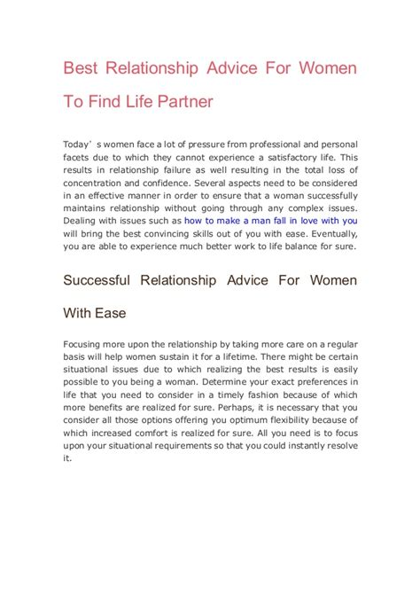 Best Relationship Advice For Women To Find Life Partner
