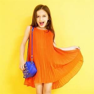 2016 Summer Dresses for Teenage Girls Orange Color Chiffon ...