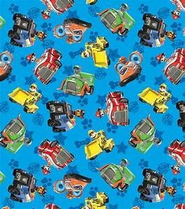 Paw Patrol Car And Motifs Flannel Fabric Jo-Ann