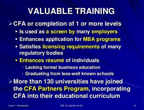 Cfa On Resume Education by Cfa Level I Overview R G Quintero Co 2015