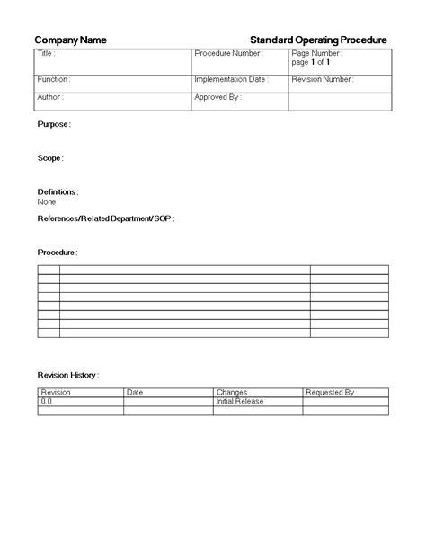 standard operating procedure sop template templates