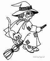 Coloring Broom Witch Halloween sketch template