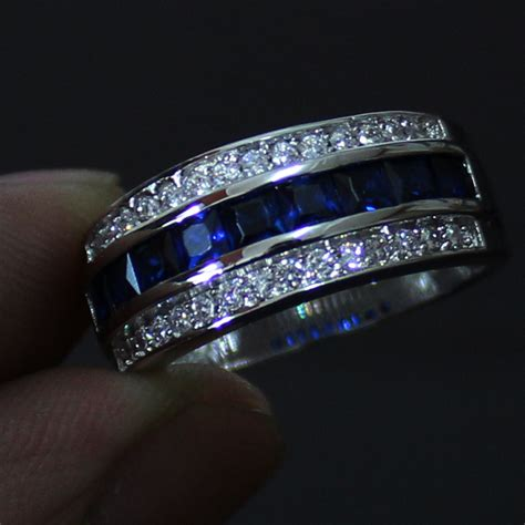men  blue sapphire kt white gold filled wedding band
