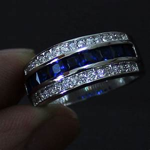men s blue sapphire 10kt white gold filled wedding band With mens sapphire wedding ring
