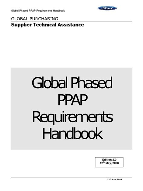Phased PPAP Requirements Handbook | Specification
