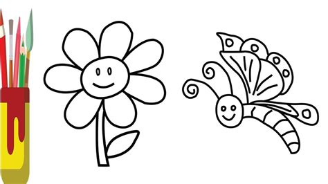 How To Draw Color Flower And Butterfly For Kids , Coloring