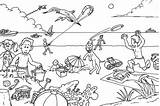 Coloring Beach Pages Summer Picnic Drawing Vacation Print Printable Sheets Disney Colour Children Crowded Getdrawings Getcolorings sketch template