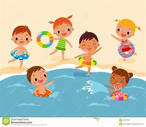 Children at the beach stock vector. Image of children ...