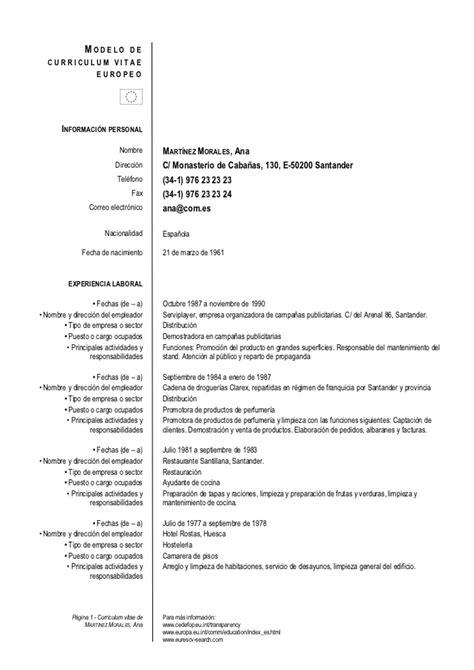 Curriculum Vitae Excel Formato Europeo by Modelo Europeo De Curriculum
