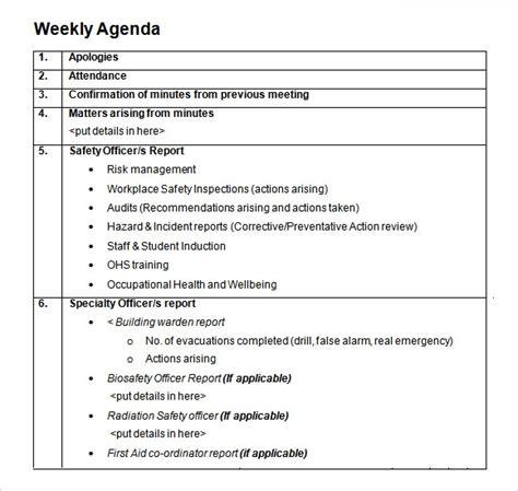 sample daily agenda templates   sample templates