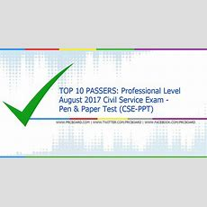 Top 10 Passers Professional August 2017 Civil Service Exam Cseppt Topnotchers Prcboardcom
