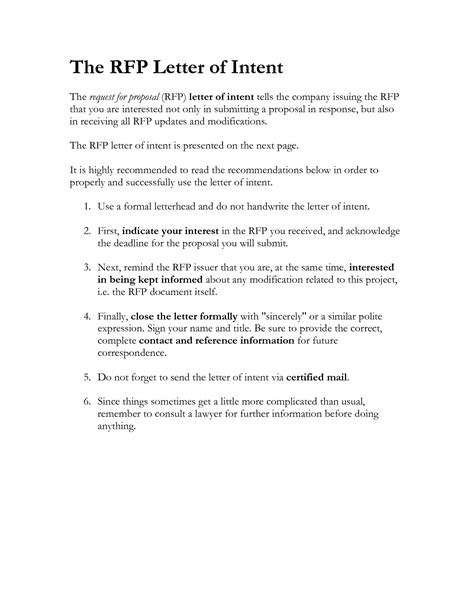 Rfp Letter Of Intent Template 9 best images of sle rfq sle sle rfp