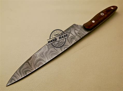 handmade kitchen knives damascus kitchen knife custom handmade damascus kitchen knife with rose wood handle 840