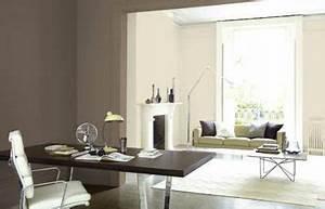 salon couleur lin ouvert sur bureau peinture couleur taupe With conseil pour peindre un mur 13 chambre taupe et couleur lin idees deco ambiance zen