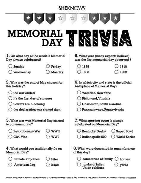 memorial day trivia  printable coloring pages