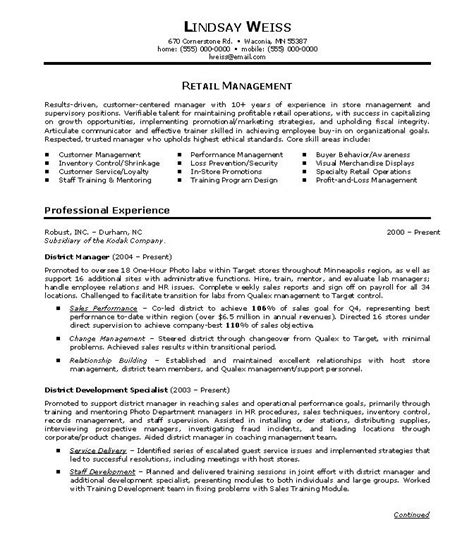 Management Resume Sles by Retail Store Manager Resumes Template Sales Resume