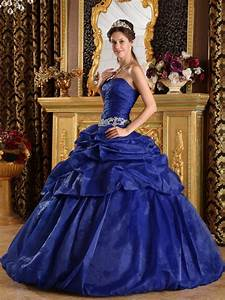Royal Blue Organza Puffy Skirt Quinceanera Dress For Discount