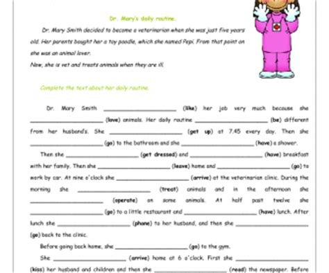 present simple  daily routines worksheet