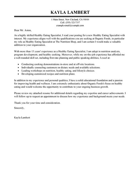 leading professional food specialist cover letter exles
