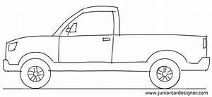 Car Drawing Tutorial: Pick Up Truck Side View   Junior Car ...