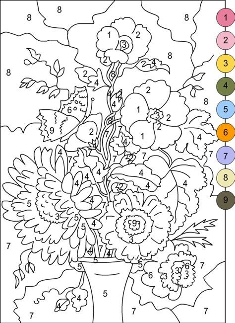 Coloring By Numbers by S Free Coloring Pages Color By Numbers Flowers