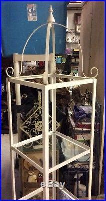 Wrought Iron Etagere Shelves by Vintage Metal Wrought Iron 3 Glass Shelves Etagere Curio