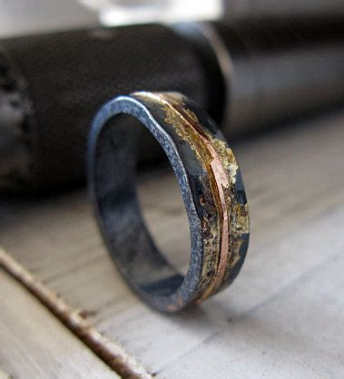 mens wedding band 5mm mens wedding ring oxidized rustic ring