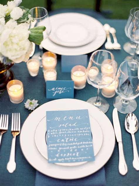 beautiful navy blue  white tablescape wedding table