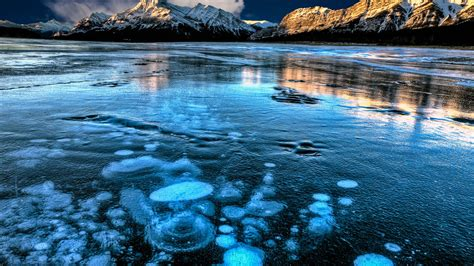 wallpaper abraham lake canada mountain ice  nature