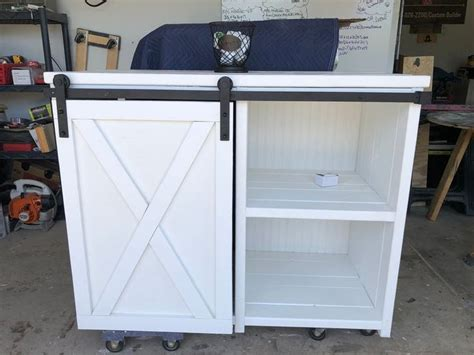 Need a space for a coffee bar, we can custom build yours to fit your space the one pictured covers a small refrigerator on the one side and storage on the other side! Bigger mini size fridge farmhouse style with a barn door slider cabinet / modern style coffee ...