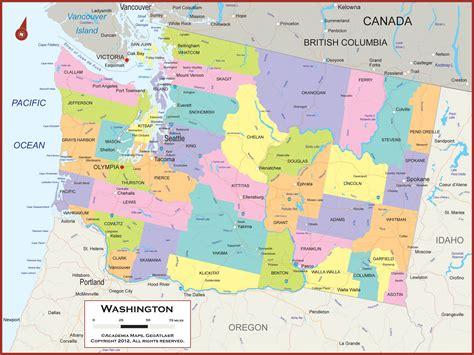 washington state wall map political