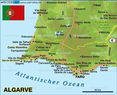 karte von algarve portugal karte auf welt atlasde