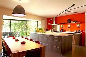 conseil idee deco cuisine orange With idee deco cuisine avec cuisine orange et gris