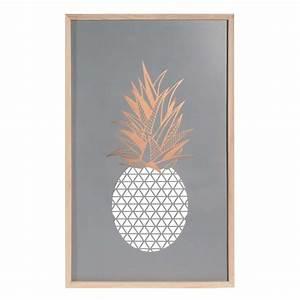 tableau en metal 40 x 65 cm modern ananas maisons du monde With affiche chambre bébé avec bougie fleur frangipanier