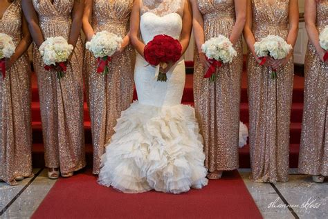 Vera Wang Wedding Dress With Red Roses Bouquet And Gold