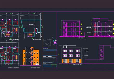 apartment block dwg plan  autocad designs cad