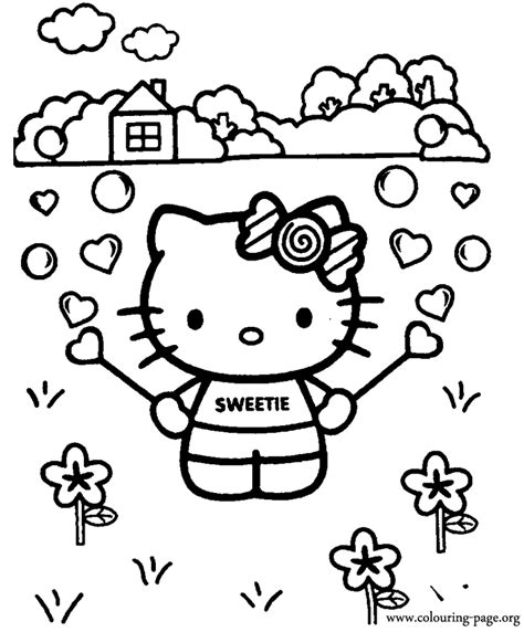 kitty  kitty playing   bubble blower coloring page