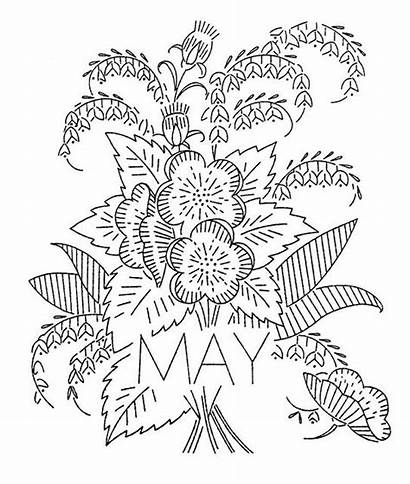 Embroidery Month Flowers Flower Designs Coloring Patterns