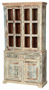 """White Washed Reclaimed Wood 78 5"""" Breakfront Hutch Buffet"""