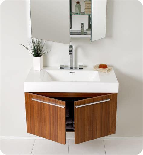 "Fresca Vista 36"" Teak Modern Bathroom Vanity with Faucet"