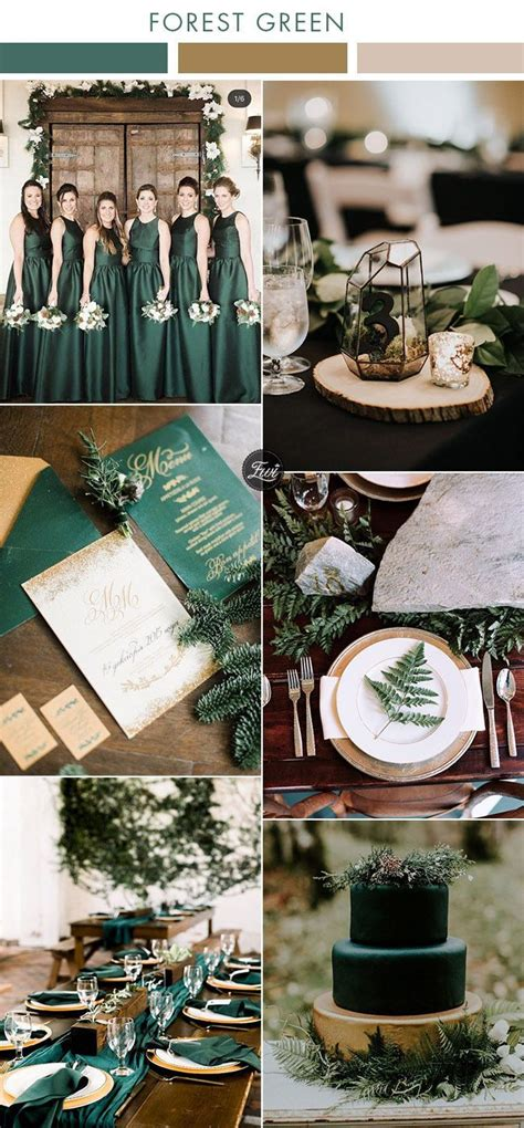 6 Beautiful Greenery Wedding Color Combos in Green Shades