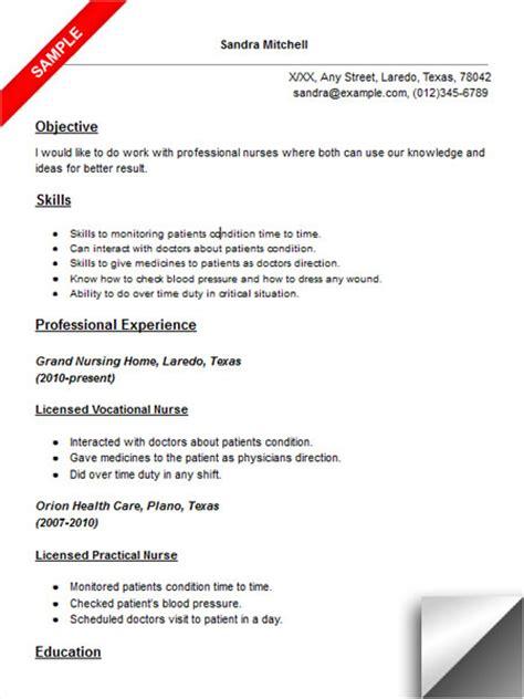 sample resume licensed practical nurse licensed vocational nurse lvn resume sample