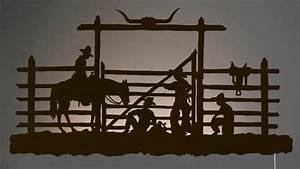 Cowboy Corral Western BackLit Wall Art 42 inch