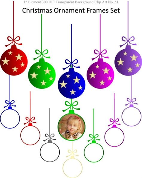 instant download christmas ornament frames clipart set for