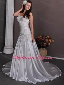 flowers ruching court train strapless taffeta wedding With wedding anniversary dresses