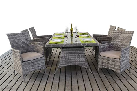 rustic rattan rectangle dining table  chairs patio life