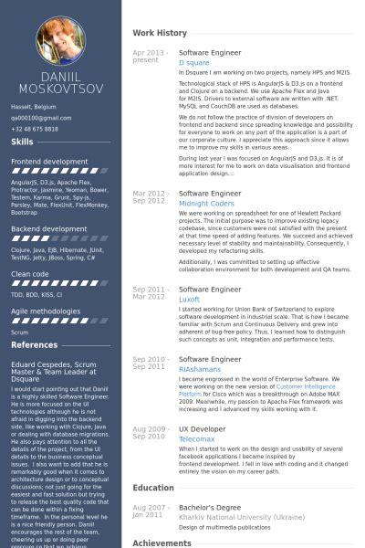 developer software engineer resume templates