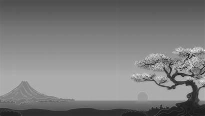 Japanese Simple Landscape Nature Minimalism Trees Sun