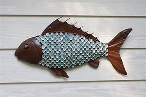 nautical wall decor metal fish with aqua limpet shell scales With fish wall decor