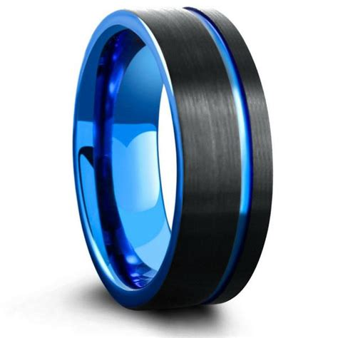 mens black blue brushed tungsten wedding ring northern